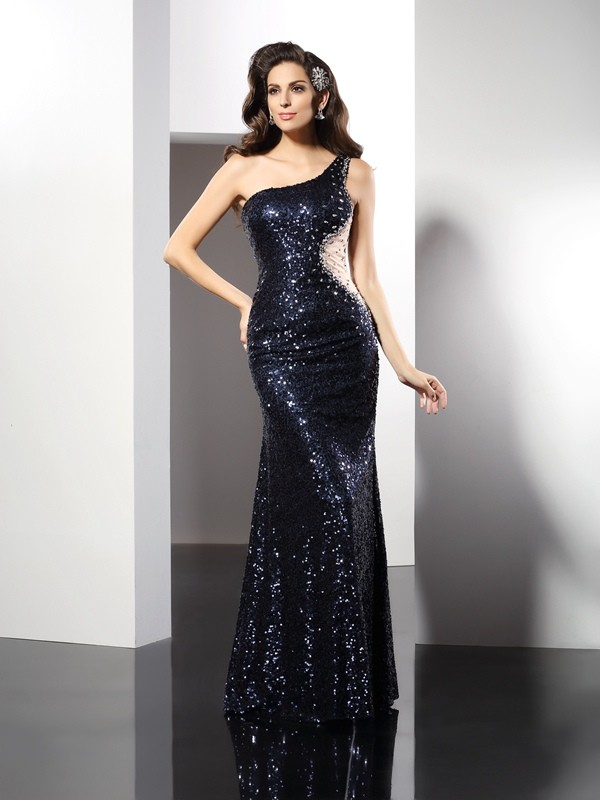 Automatic Classic Sheath Style One-Shoulder Sequin Long Sequins Dresses