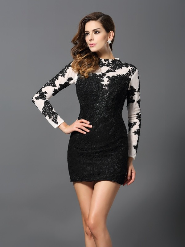 Cheerful Spirit Sheath Style High Neck Applique Short Lace Cocktail Dresses