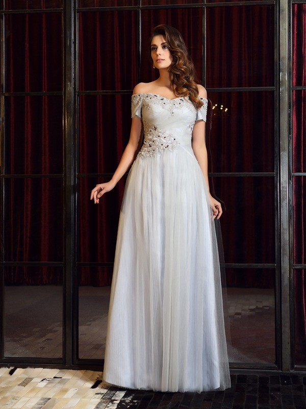 Time to Shine Princess Style Off-the-Shoulder Beading Long Net Dresses