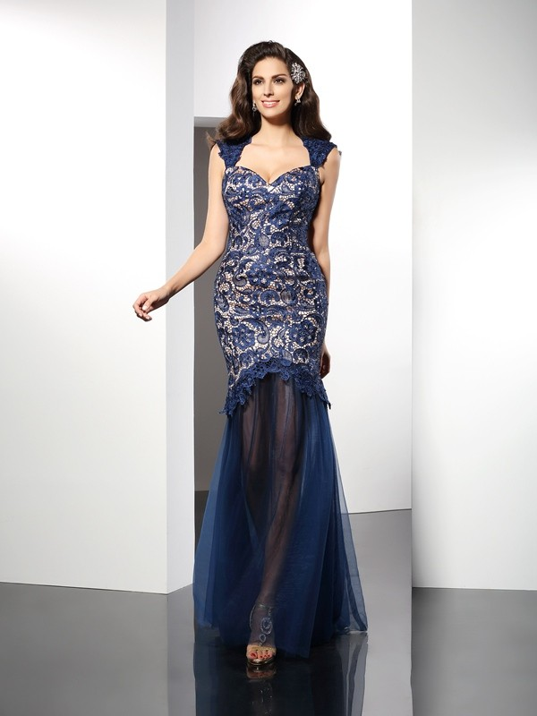 Comfortably Chic Mermaid Style Sweetheart Lace Long Net Dresses