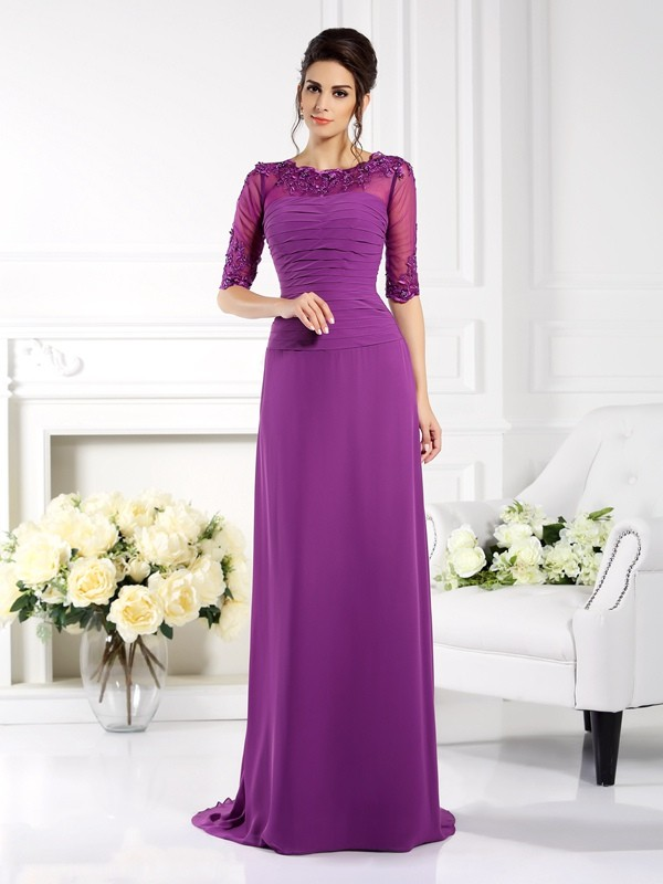 Confident Option Sheath Style Scoop Applique Long Chiffon Mother of the Bride Dresses