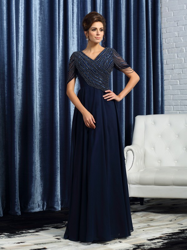 Styled to Smile Princess Style V-neck Long Chiffon Mother of the Bride Dresses