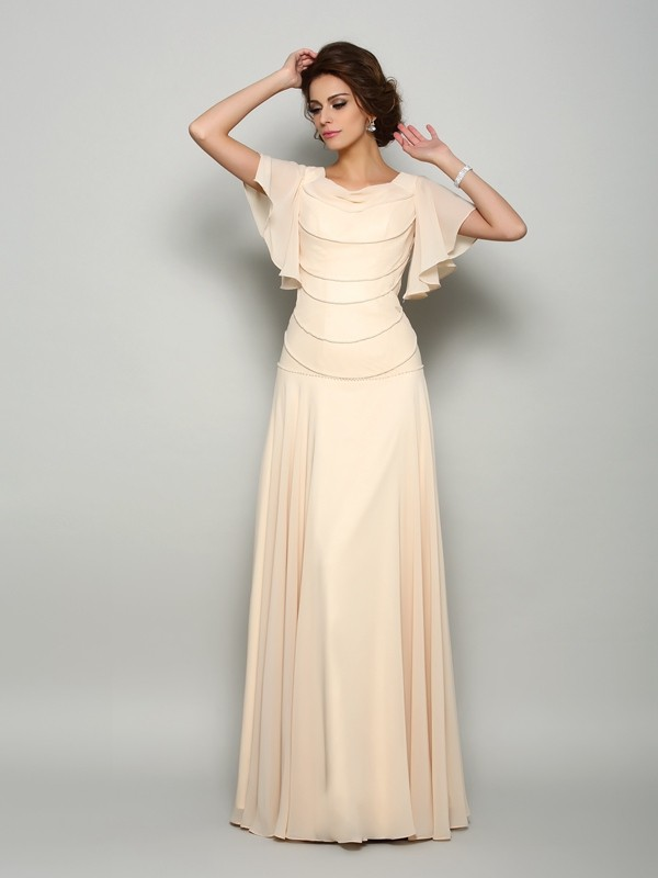 Intuitive Impact Princess Style Square Beading Long Chiffon Mother of the Bride Dresses