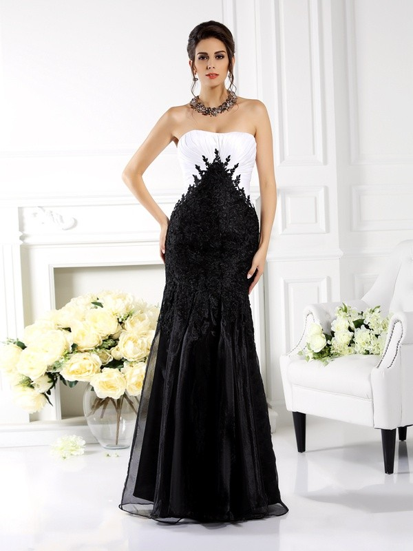 Pleased to be Me Mermaid Style Strapless Applique Long Tulle Mother of the Bride Dresses