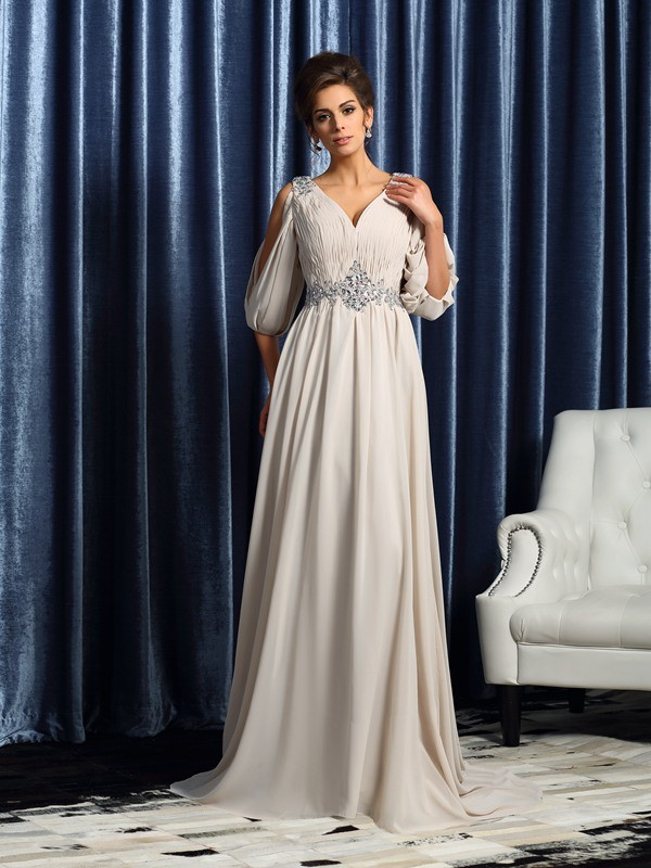 Yours Truly Princess Style V-neck Beading Long Chiffon Mother of the Bride Dresses