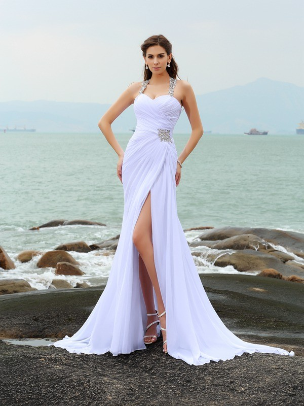 Comfortably Chic Sheath Style Straps Beading Long Chiffon Beach Wedding Dresses
