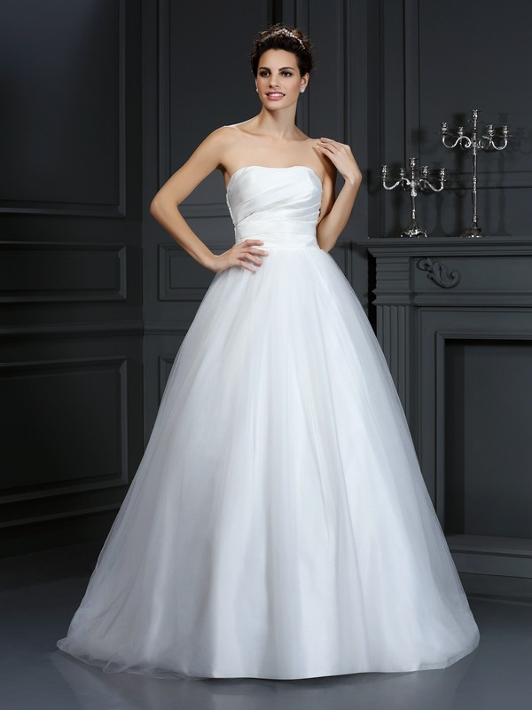 Voiced Vivacity Ball Gown Strapless Pleats Long Taffeta Wedding Dresses