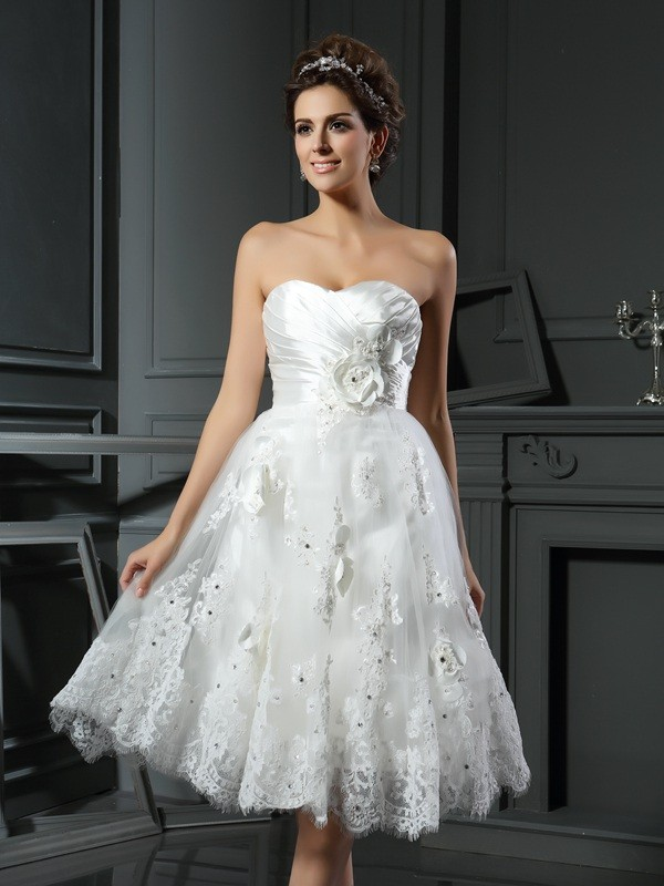 Sweet Sensation Princess Style Sweetheart Ruched Short Satin Wedding Dresses