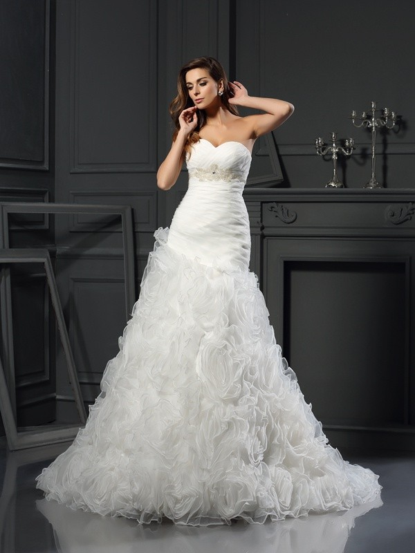 Pleased to be Me Princess Style Sweetheart Beading Long Organza Wedding Dresses