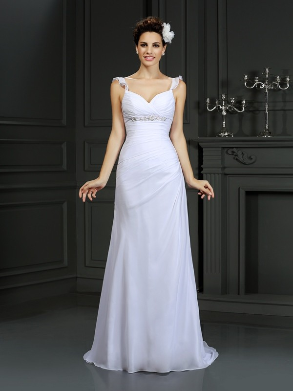 Dancing Queen Mermaid Style Straps Beading Long Chiffon Wedding Dresses