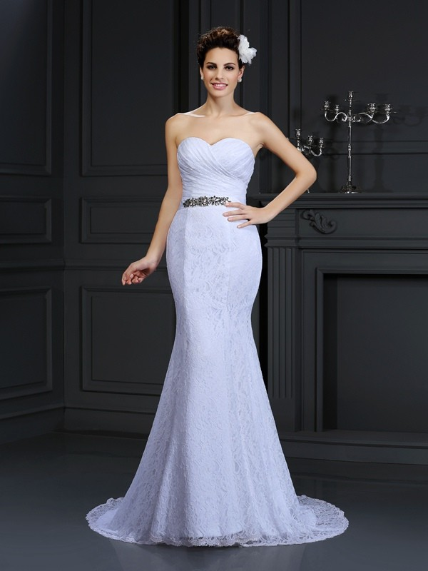 Touch of Texture Mermaid Style Sweetheart Long Lace Wedding Dresses