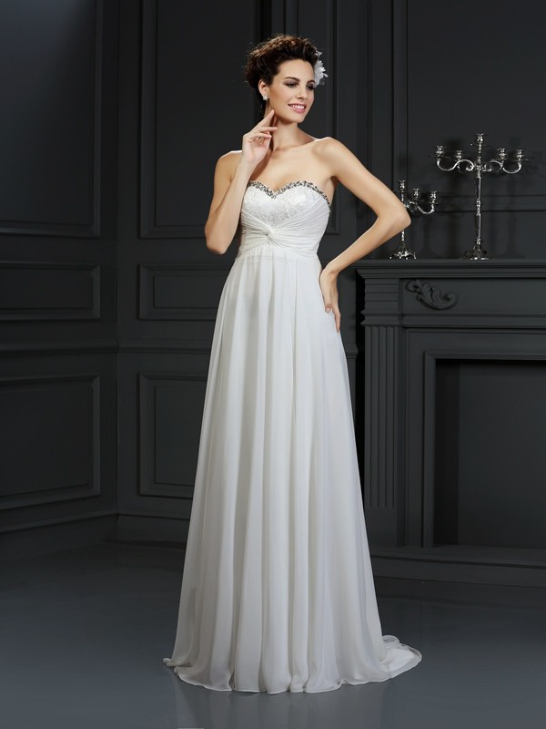 Naturally Chic Princess Style Sweetheart Ruffles Long Chiffon Wedding Dresses