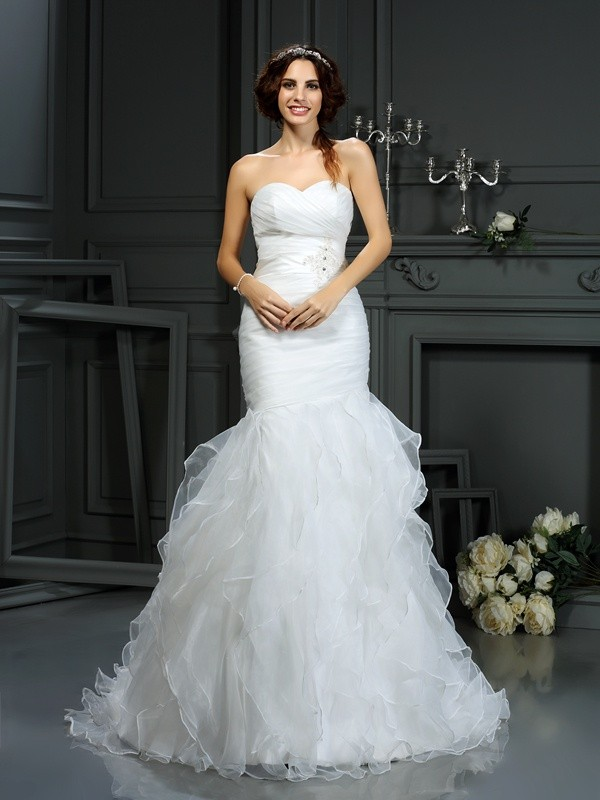 Befits Your Brilliance Mermaid Style Sweetheart Beading Long Organza Wedding Dresses