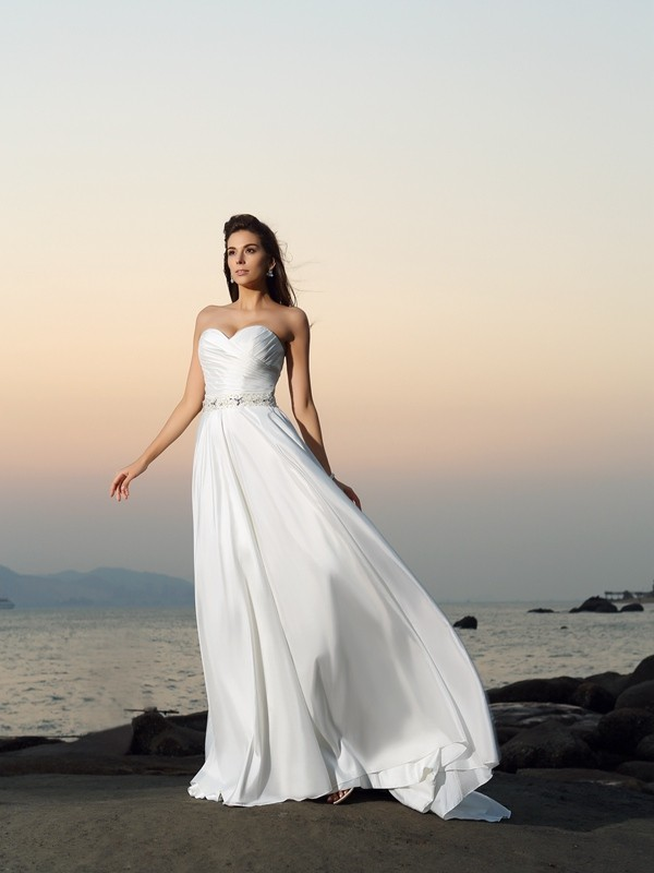 Intuitive Impact Princess Style Sweetheart Beading Long Taffeta Beach Wedding Dresses
