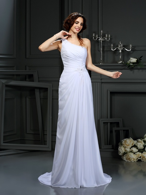 Treasured Reveries Princess Style One-Shoulder Pleats Long Chiffon Wedding Dresses