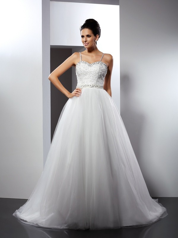 Limitless Looks Princess Style Spaghetti Straps Beading Long Tulle Wedding Dresses
