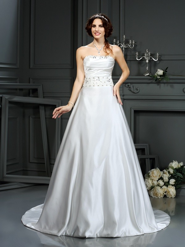 Creative Courage Princess Style Strapless Beading Long Satin Wedding Dresses