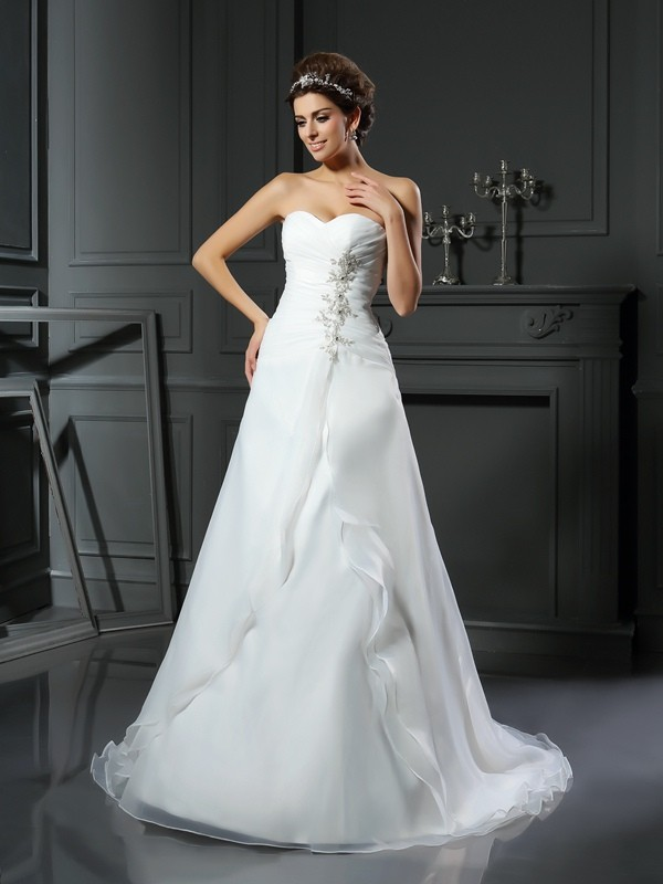 Sweet Sensation Princess Style Sweetheart Ruched Long Satin Wedding Dresses