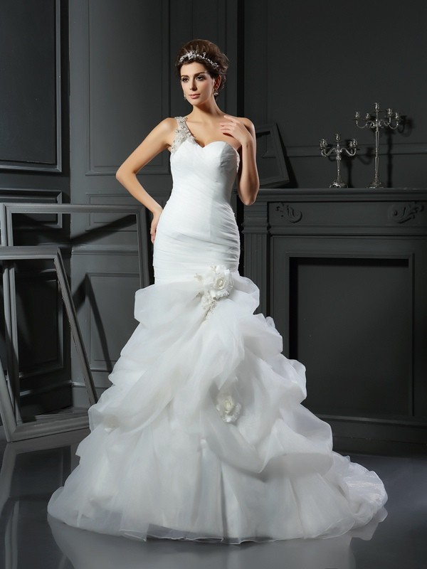 Pretty Looks Mermaid Style Sweetheart Ruffles Long Satin Wedding Dresses