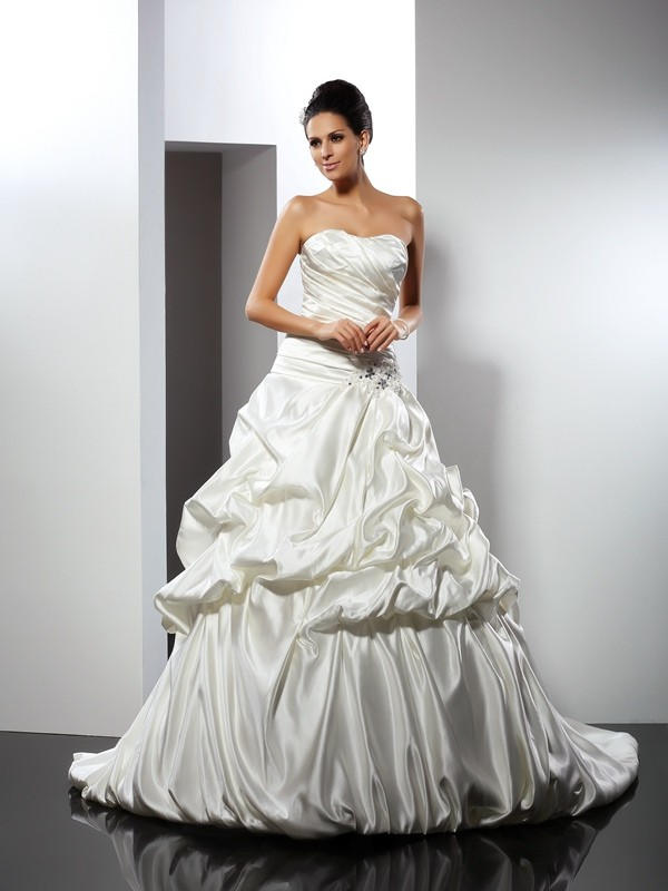 Confident Option Ball Gown Sweetheart Long Satin Wedding Dresses