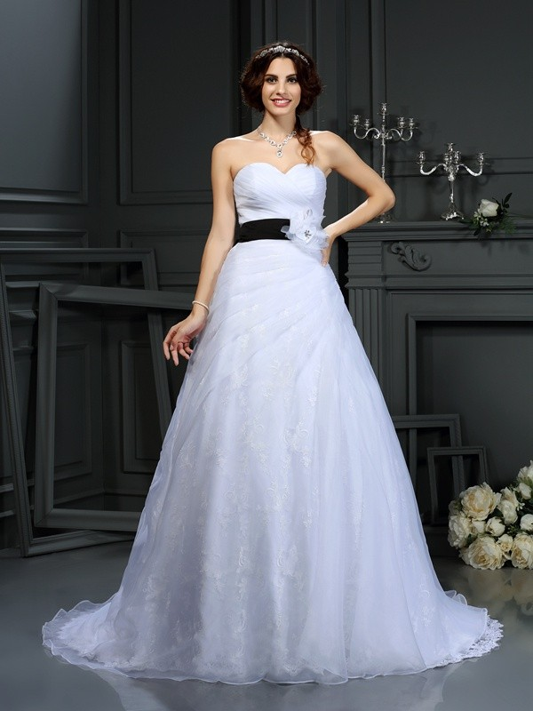 Visual Moment Princess Style Sweetheart Sash/Ribbon/Belt Long Satin Wedding Dresses