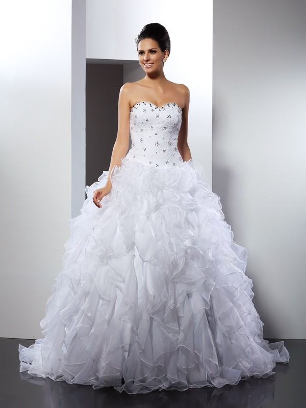Memorable Magic Ball Gown Sweetheart Ruffles Long Satin Wedding Dresses