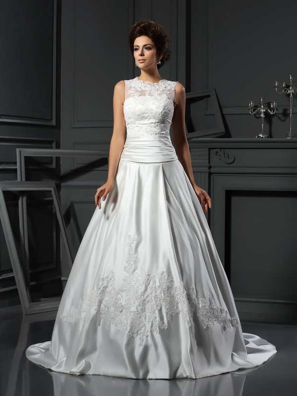 Romantic Vibes Princess Style High Neck Applique Long Satin Wedding Dresses