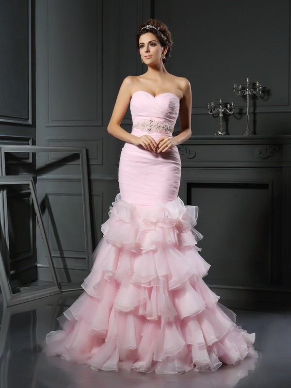 Defined Shine Mermaid Style Sweetheart Beading Long Organza Wedding Dresses