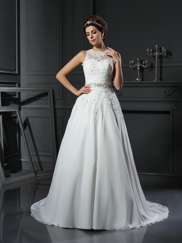 Touch of Texture Princess Style High Neck Beading Long Satin Wedding Dresses