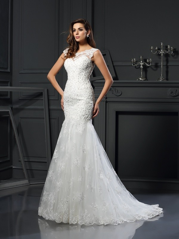 Naturally Chic Mermaid Style Scoop Applique Long Tulle Wedding Dresses