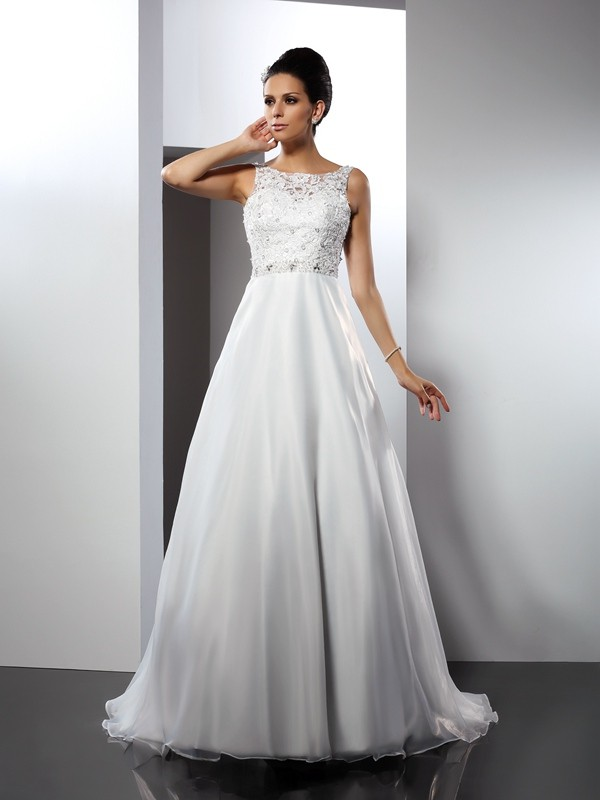 Dashing Darling Princess Style Scoop Ruffles Long Satin Wedding Dresses