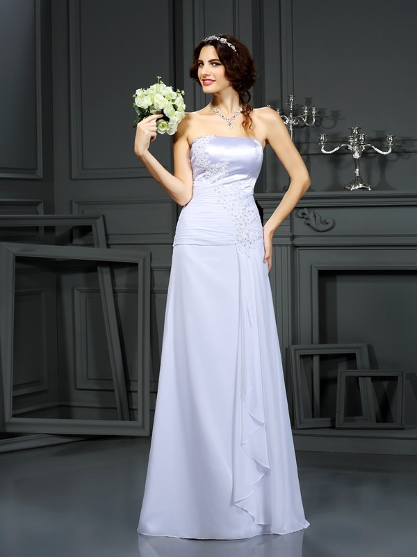 Absolute Lovely Sheath Style Strapless Beading Long Chiffon Wedding Dresses