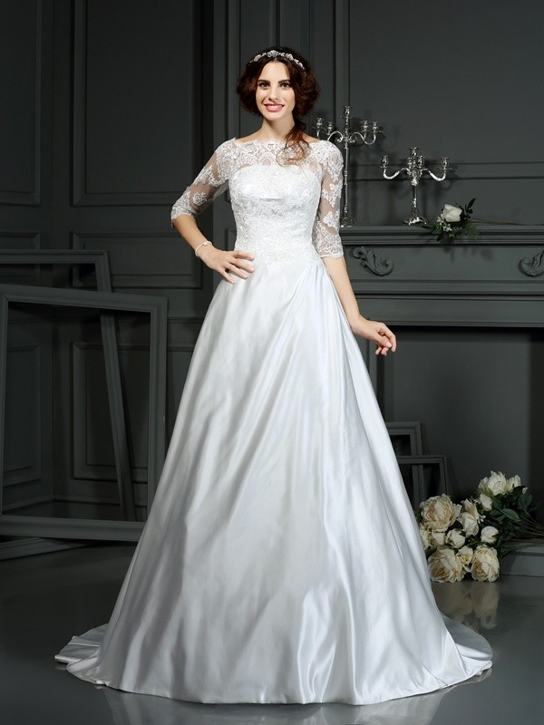 Aesthetic Honesty Princess Style Bateau Lace Long Satin Wedding Dresses