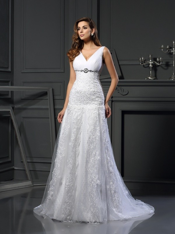Pleasant Emphasis Princess Style V-neck Beading Long Satin Wedding Dresses