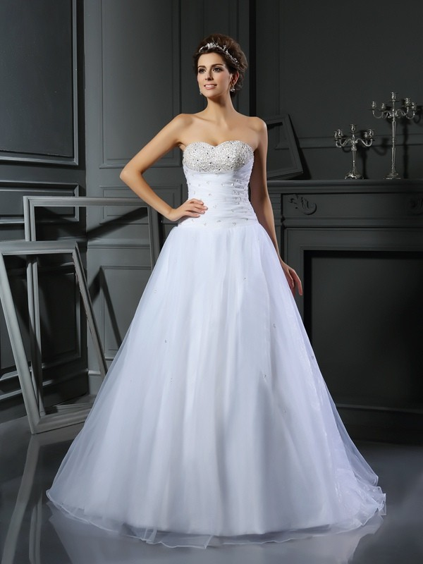 Chic Chic London Ball Gown Sweetheart Beading Long Satin Wedding Dresses