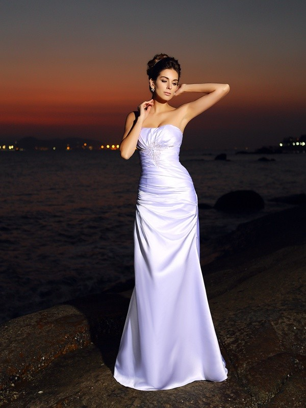Treasured Reveries Mermaid Style Sweetheart Long Satin Beach Wedding Dresses
