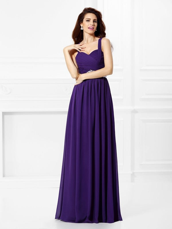 Pleased to be Me Princess Style Sweetheart Beading Pleats Long Chiffon Dresses