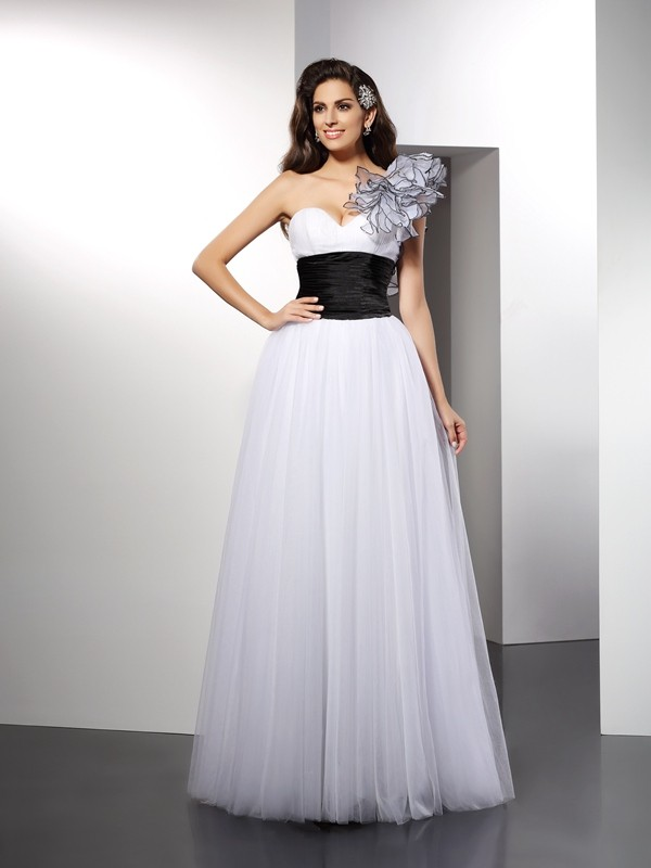 Visual Moment Princess Style One-Shoulder Sash/Ribbon/Belt Long Net Dresses