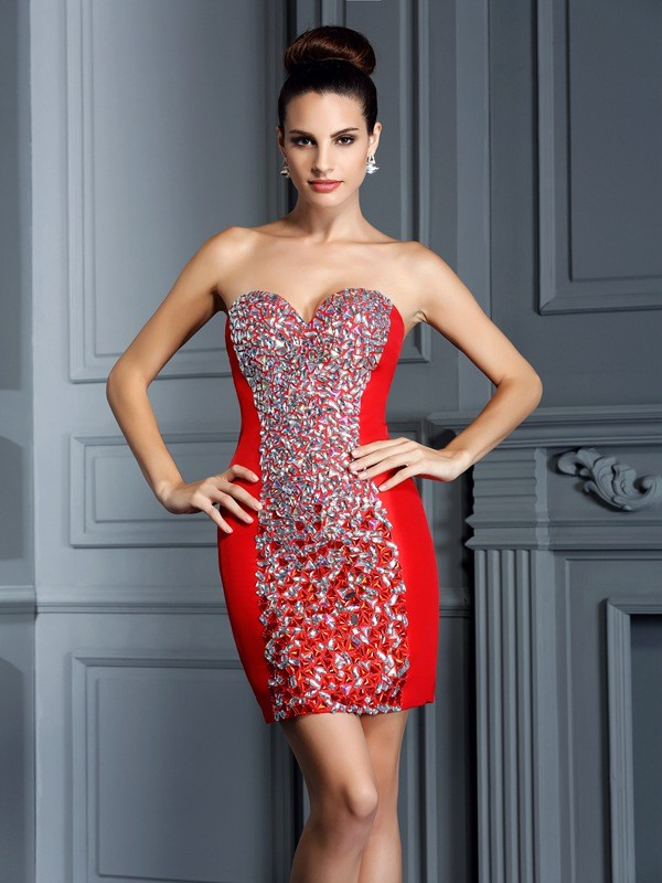 Too Much Fun Sheath Style Sweetheart Embroidery Short Taffeta Cocktail Dresses