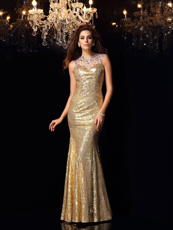 Yours Truly Mermaid Style High Neck Long Sequins Dresses