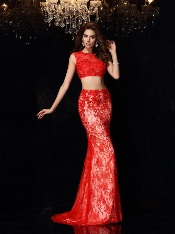 Absolute Lovely Sheath Style Scoop Lace Long Elastic Woven Satin Two Piece Dresses