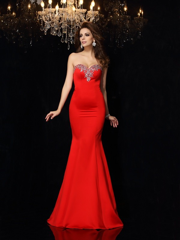 Creative Courage Sheath Style Sweetheart Beading Long Satin Dresses
