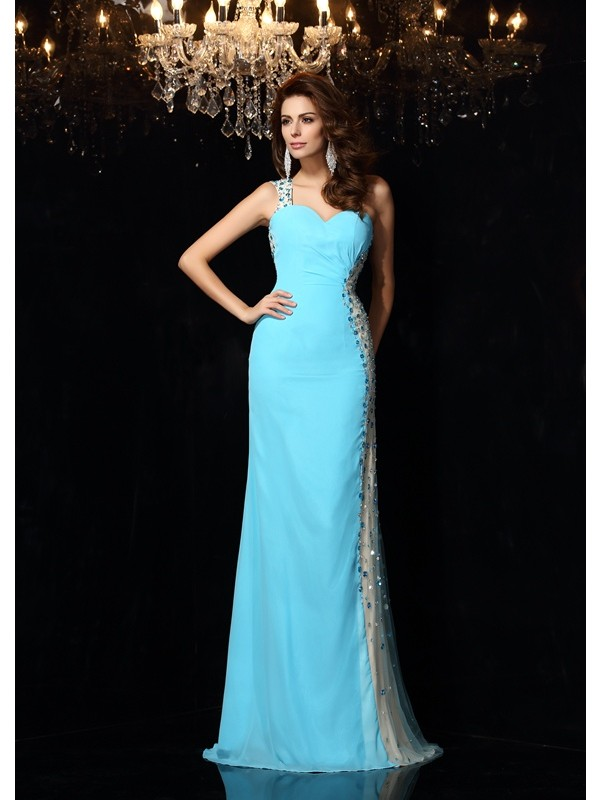 Efflorescent Dreams Sheath Style One-Shoulder Rhinestone Long Chiffon Dresses