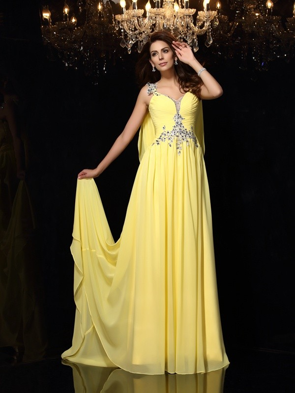 Voiced Vivacity Princess Style Straps Beading Long Chiffon Dresses