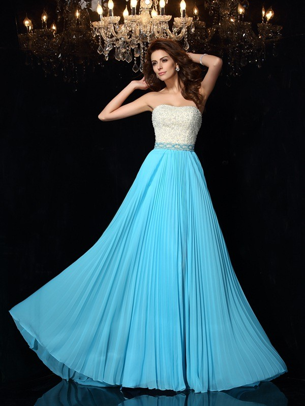 Festive Self Princess Style Strapless Beading Long Chiffon Dresses