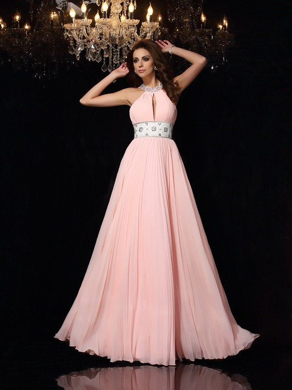 Yours Truly Princess Style High Neck Pleats Long Chiffon Dresses