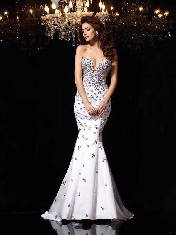 Pleasant Emphasis Mermaid Style Sweetheart Rhinestone Long Satin Dresses
