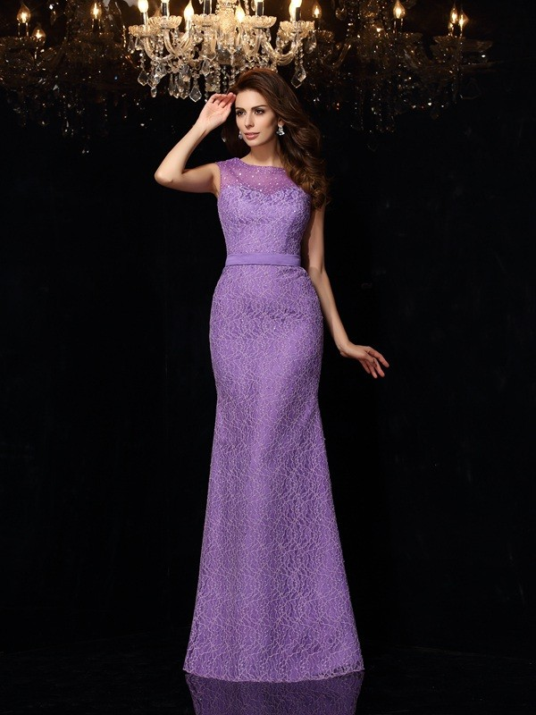 Festive Self Sheath Style Scoop Lace Long Satin Dresses
