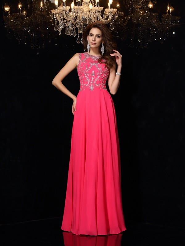 Vibrant Stylist Princess Style Scoop Beading Long Chiffon Dresses