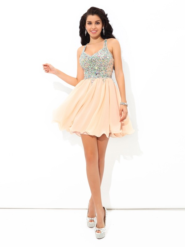 Creative Courage Princess Style Straps Rhinestone Short Chiffon Cocktail Dresses